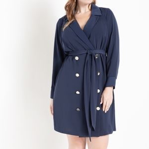 Navy Double Breasted Belted Blazer Dress